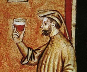 From the 11th c. 'Tacuinum Sanitatis' - Drinking wine in the Middle Ages.