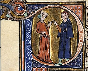 Detail of the historiated initial 'P'(our) with a standing physician and pregnant woman.  British Library