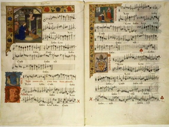 """Manuscript page with the five-voice """"Kyrie"""" of the Missa Virgo Parens Christi by Jacques Barbireau (ca.1420-1491)."""