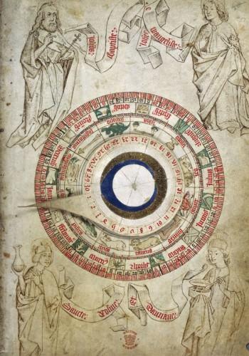 Circular zodiacal lunar chart, Egerton 2572, f.51 - British Library