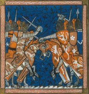 Medieval War - Royal 16 G VI   f. 427v   Civil war in England - image courtesy British Library