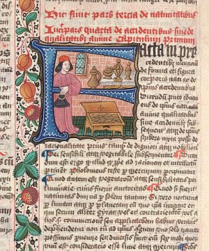 medieval merchant - Detail of historiated initial 'F'(acta) of merchant and golden vessels.  Origin:England, S. E. (London)