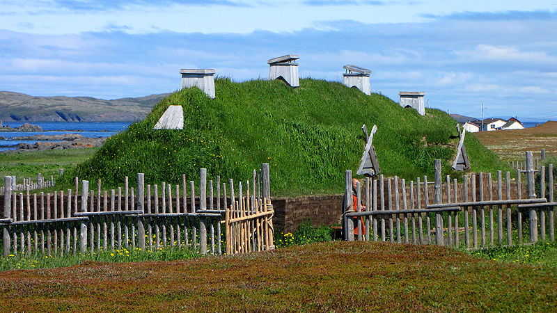 Norse long house recreation, L'Anse aux Meadows, Newfoundland and Labrador, Canada. Photo by D. Gordon E. Robertson