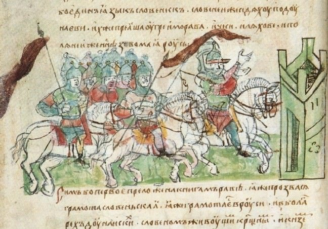 Byzantine warfare depicted in the Radzivill Chronicle