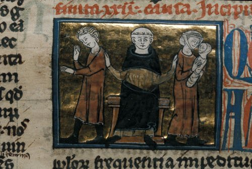 Detail of a miniature of a monk or a canon as judge separating a husband and wife holding a baby, at the beginning of causa 30