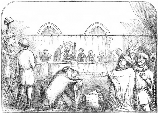 Illustration from Chambers Book of Days depicting a sow and her piglets being tried for the murder of a child.