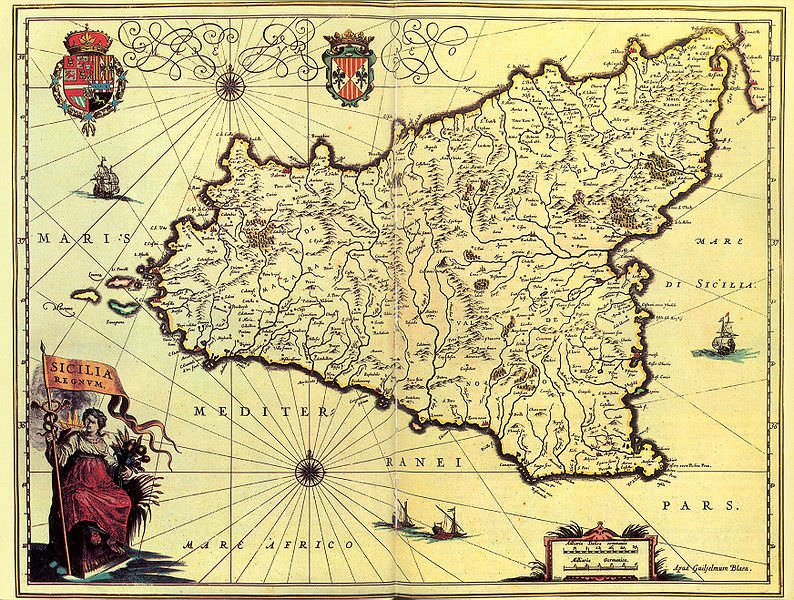 16th century map of Sicily