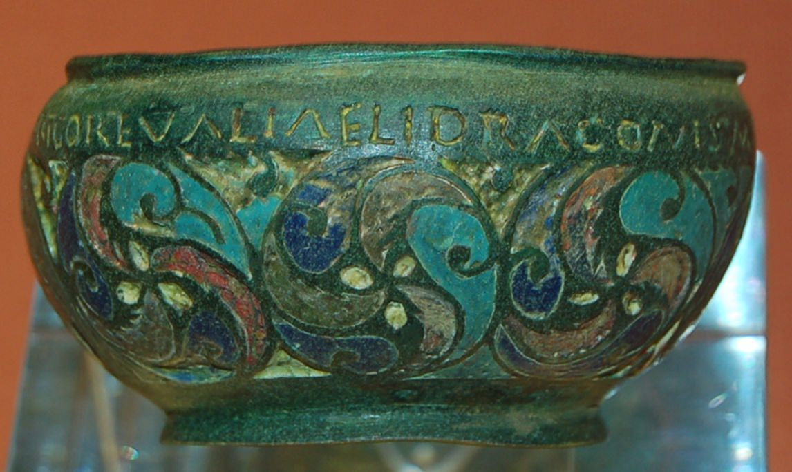 The Staffordshire Moorlands Pan, This bronze pan dating from the 2nd century AD. It was found in a very well preserved condition with intact enamel inlays. Photo by Dominic Coyne, Young Graduates for Museums and Galleries programme August 2007.