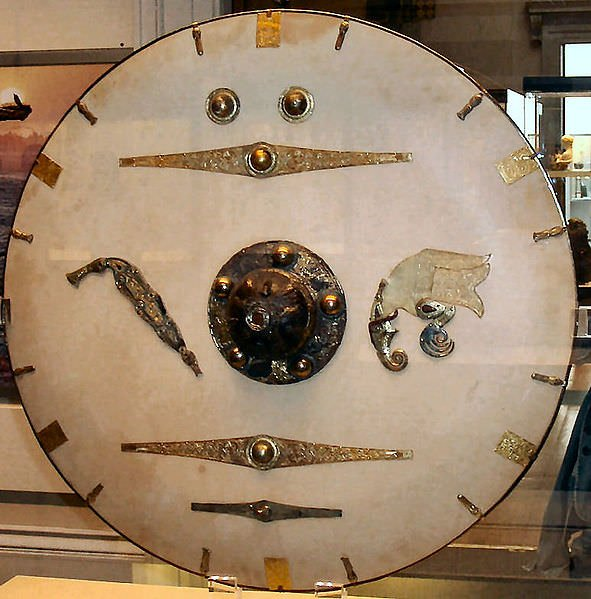Shield from the Sutton Hoo ship-burial 1, England. Reconstruction. Photo by Colin Payne (minophis) from Leighton Buzzard, UK