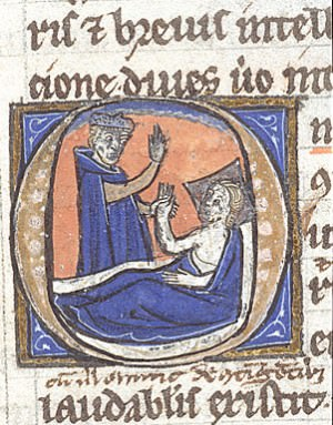 Detail of a historiated initial of a physician, and a patient in bed.