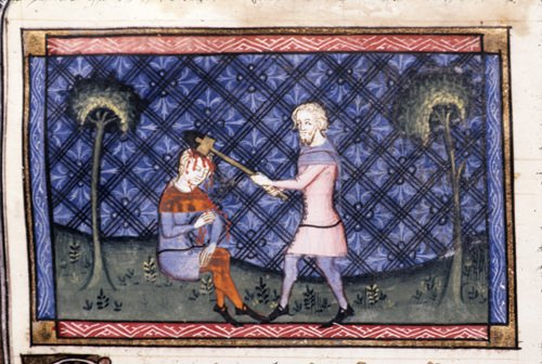 Detail of a miniature of Cain murdering Abel.