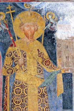 Fresco of Stefan Lazarević in Manasija monastery, near Despotovac, Serbia.