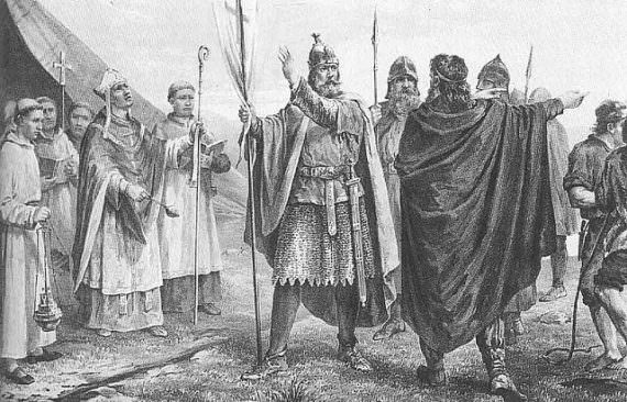 King Olaf I of Norway's arrival to Norway Based on drawing by Peter Nicolai Arbo
