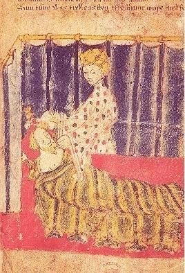 Temptation of Sir Gawain by Lady Bercilak: Cotton Nero A. x, f. 129