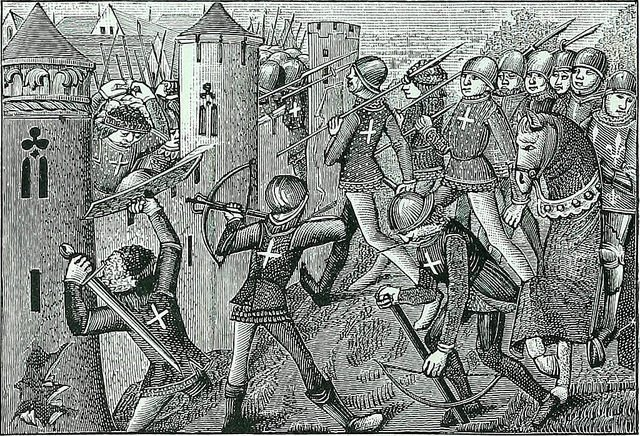 medieval battle - from Science and literature in the Middle Ages and the Renaissance (1878)