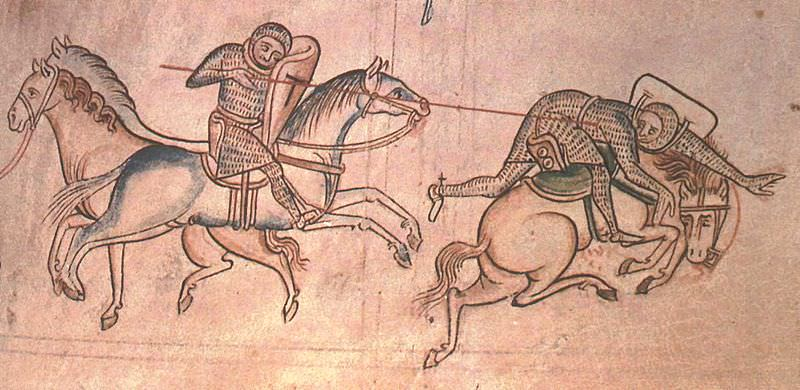 William Marshal at a joust unhorses Baldwin Guisnes. From the Historia Major of Matthew Paris.
