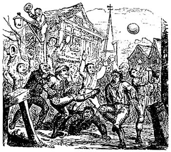 "An illustration of so-called ""mob football"", a variety of medieval football."