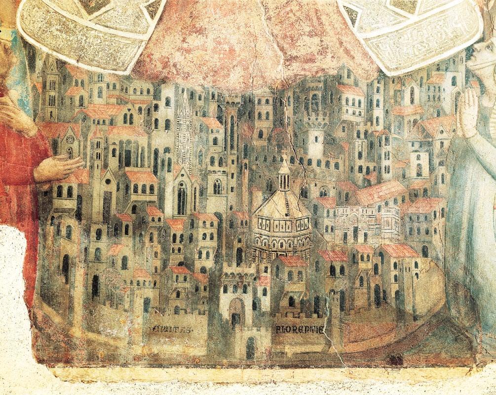 Madonna della Misericordia - depicting Florence (1342). School of Bernardo Daddi, Museo del Bigallo, Florence.