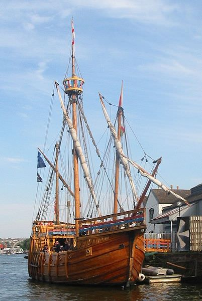 The replica of John Cabot's ship The Matthew. Photographed at its home berth, adjacent to the SS Great Britain in Bristol harbour. Photograph by Chris McKenna