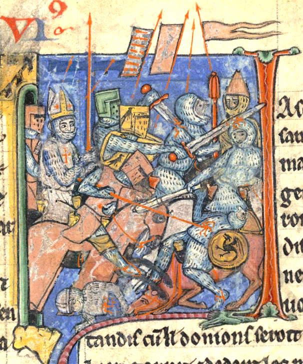 Adhémar de Monteil carrying the Holy Lance in one of the battles of the First Crusade
