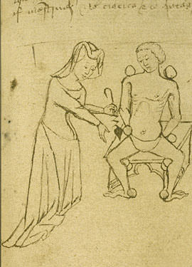Medieval female physician - From an early 15th century English manuscript
