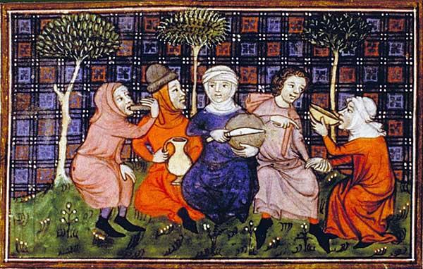 Peasants breaking bread. Livre du roi Modus et de la reine Ratio, 14th century. Paris, Bibliothèque nationale, Département des manuscrits, Français 22545 fol. 72.