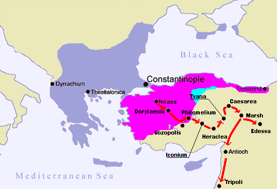 Route of the First Crusade through Asia - created by Gabr-el at English Wikipedia