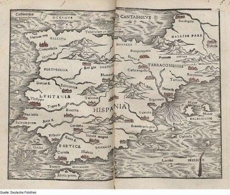 16th century map of Iberia