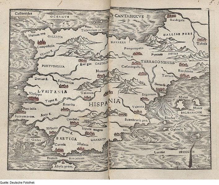 16th century map of Iberia