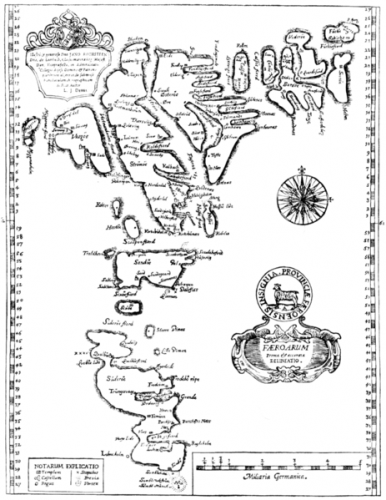 17th century map of the Faroe Islands