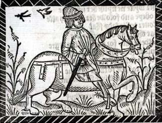 The pardoner, one of the pilgrims in Chaucer's Canterbury Tales