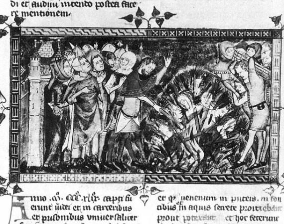 Burning of Jews during the Black Death epidemic, 1349. Brussels, Bibliothèque royale de Belgique, MS 13076-77, f. 12v.