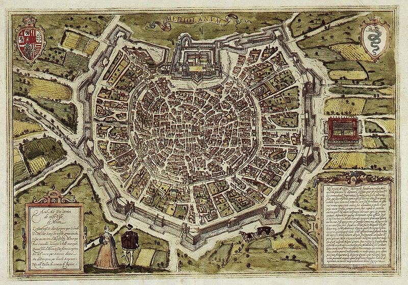 16th century map of Milan