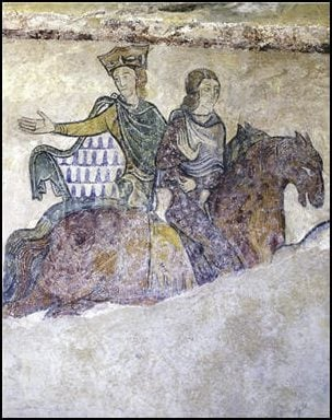 Eleanor of Aquitaine on the left with a companion, probably Isabella of Angoulême, from a mural in the Chapel of St. Radegund, Chinon