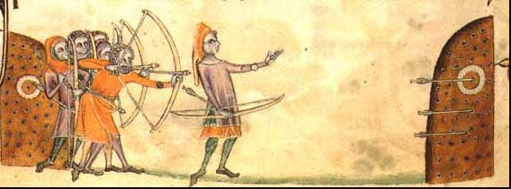 Archers in the Luttrell Psalter