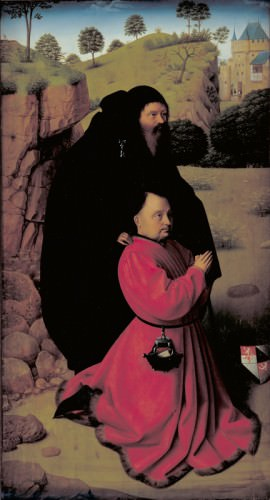 15th century painting - Altar Panel with a Portrait of a Donor in Scarlet under the Protection of St Anthony