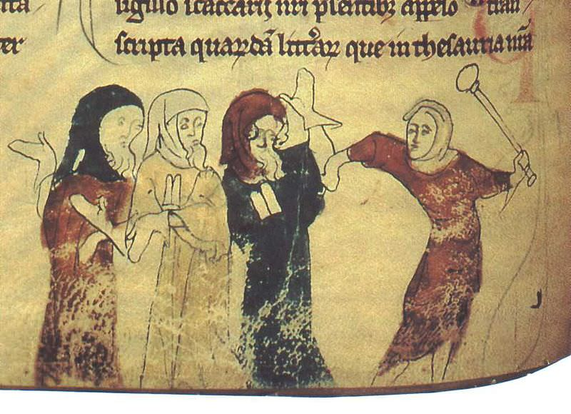 Marginal Illustration from the Chronicles of Offa (British Library, Cotton Nero D. II.), folio 183v, Jews being persecuted. Illustration by Matthew Paris.