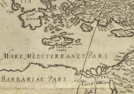 16th century map of the  Eastern Mediterranean