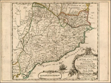 17th century map of Catalonia