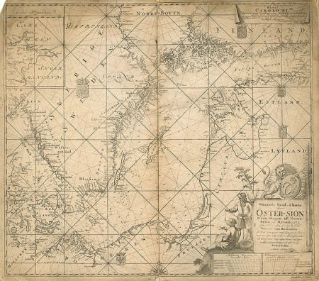 17th century map of the Baltic Sea - Map of Baltic Sea by Werner von Rosenfeldt and Petter Gädda