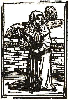 A drawing of a Beguine from Des dodes dantz, printed in Lübeck in 1489.