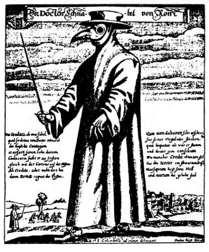 """""""Doktor Schnabel von Rom"""" (""""Doctor Beak from Rome"""") engraving, Rome 1656 Physician attire for protection from the Bubonic plague or Black death."""