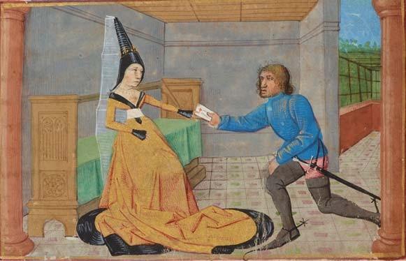 Geneviève Receiving King Mark's Letter, by the Master of the Vienna Mamerot. Romance of Tristan; France, Bourges? dated 1468. Pierpont Morgan Library, MS M.41, f. 24v (detail).
