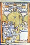 Detail of a miniature of the martyrdom of St Thomas Becket, killed by ...