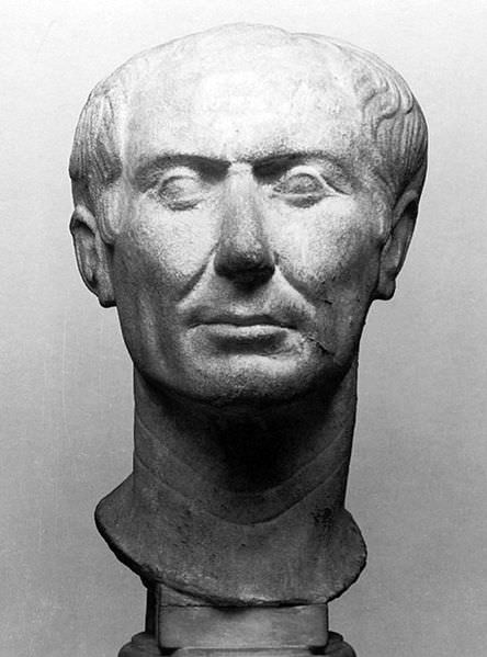"The ""Tusculum portrait"", one of two surviving busts of Julius Caesar made during his lifetime."