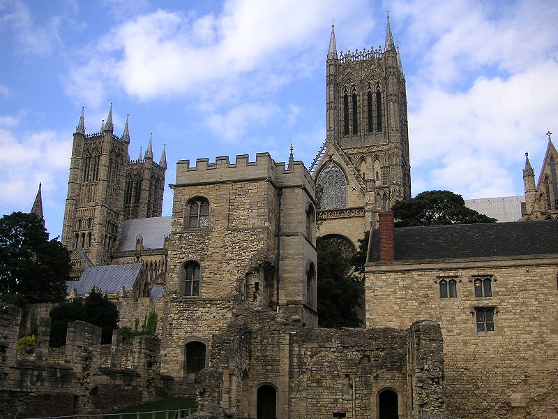 Lincoln Cathedral, seen from the ruined Medieval Bishop's Palace to the south.