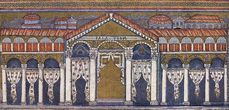 Mosaic depicting the palace of Theodoric the Great in his palace chapel of San Apollinare Nuovo