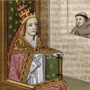 Pope Joan depicted in a 15th-16th century manuscript