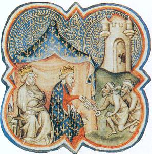 Philip II and Richard Lionheart receiving the keys to Acre