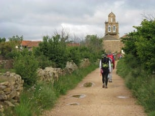 Roanoke College students walk into the village of Santa Catalina de Somoza during their first days of backpacking the Camino de Santiago in northern Spain. Photo courtesy Roanoke College